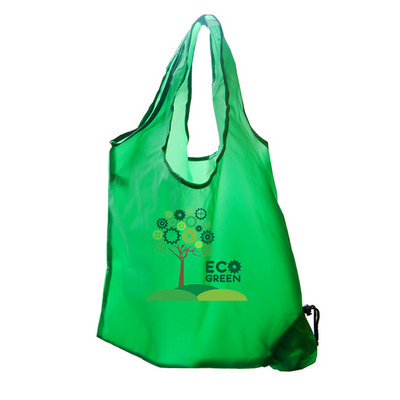 Picture of Folding Polyester Shopper Bag In Green.