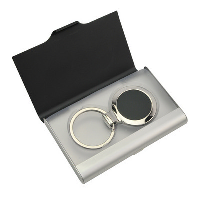 Picture of Ebony Key Ring Business Card Holder Set