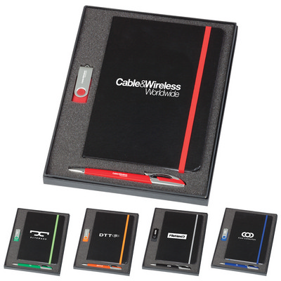 Picture of Notebook / 2 GB Swivel USB & Havana Pen