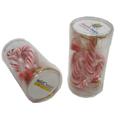 Picture of Pet Tube Filled with Candy Canes X6