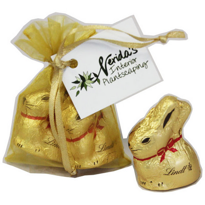 Picture of Organza Bag With X2 Gold Lindt Bunny 20G