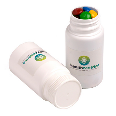 Picture of Pill Jar Filled with M&Ms 120G