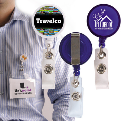 Picture of Retractable Name Badge Holder with Metal