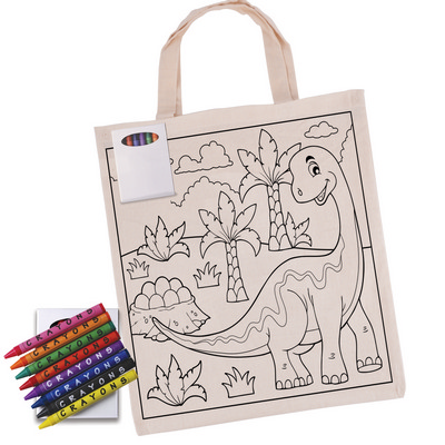 Picture of Colouring in Short Handle Calico Tote Ba