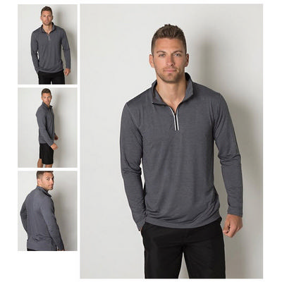 Picture of Mens Cooldry Heather Fabric 1/2 Zip Long