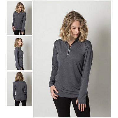 Picture of Ladies Cooldry Heather Fabric 1/2 Zip Lo