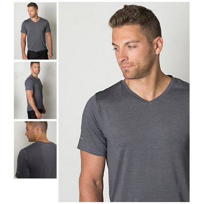 Picture of Mens Cooldry Heather Fabric V Neck T-Shi