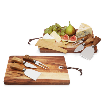 Picture of 4pc Cheese Set w/Acacia Wood Cheese BoardParmesan cheese shaver. Cheese fork. Par