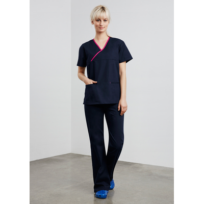 Picture of Ladies Contrast Crossover Scrubs Top