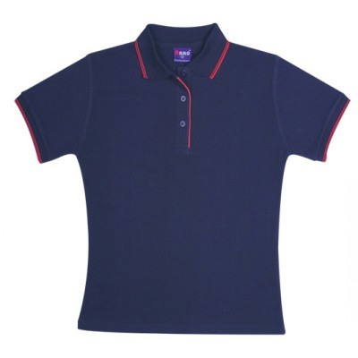 Picture of Ladies Double Stripe Trim Collar Polo