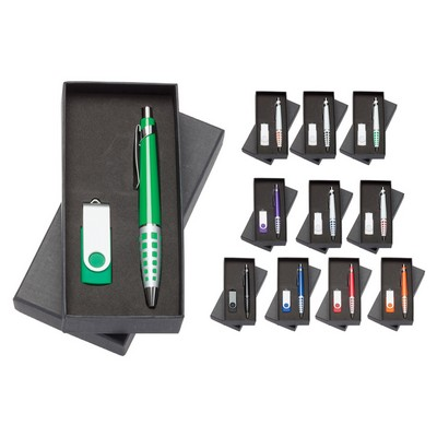 Picture of Madison Pen / 2 GB Swivel USB - Gift Set