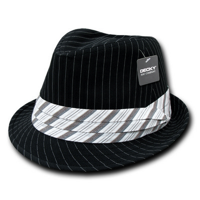 Picture of Decky Pinstriped Fedora Hat