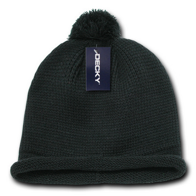 Picture of Decky Solid RollUp Beanie w/PomPom
