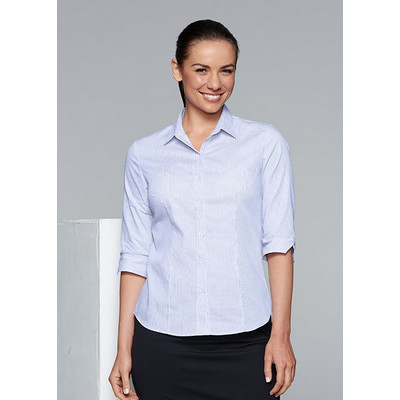 Picture of Ladies Henley Striped 3/4 Sleeve Shirt