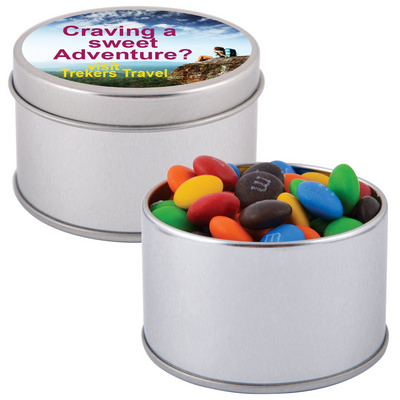 Picture of M&M s in Silver Round Tin