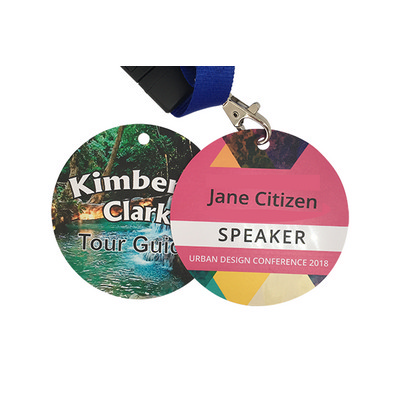 Picture of Thick Circle 75mm Matt Name Tags with Ho