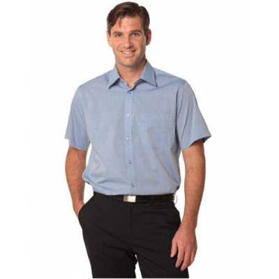 Picture of Mens Fine Chambray Short Sleeve Shirt