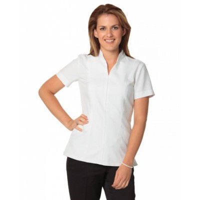 Picture of Ladies Full Zip Front Short Sleeve Tunic