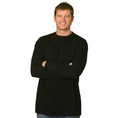 Picture of Mens 100% Cotton Crew Neck Long Sleeve T