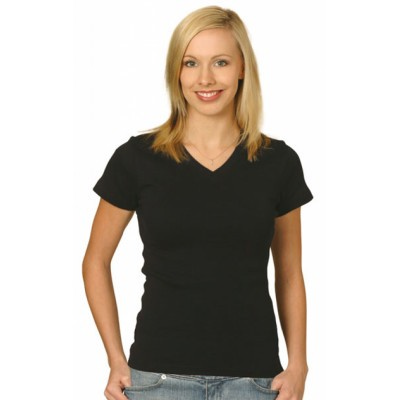 Picture of Ladies Cotton Stretch V-Neck Short Sleev