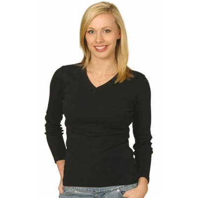 Picture of Ladies Cotton Stretch V-Neck Long Sleeve