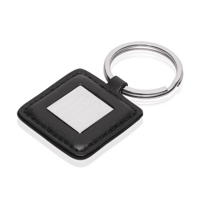 Picture of Keyring Square Metal Leather Look