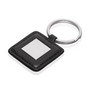 Keyring Square Metal Leather Look