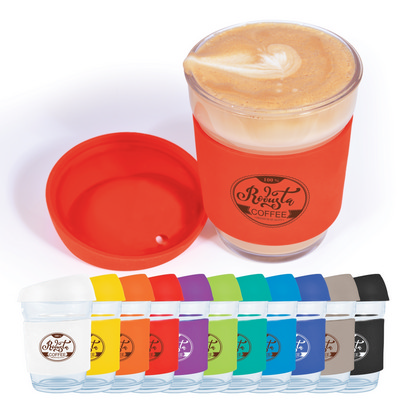 Picture of Vienna Glass Coffee Cup  Silicone Lid