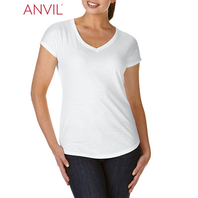 Picture of Anvil Women's Tri-Blend V-Neck Tee White