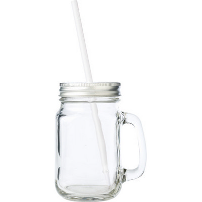 Picture of Glass mason drinking jar with handle (48