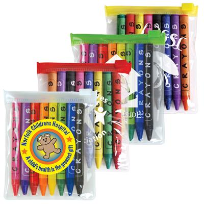 Picture of Assorted Colour Crayons in PVC Zipper Po