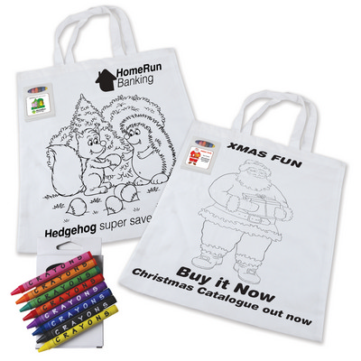 Picture of Colouring Short Handle Cotton Bag Bag wi