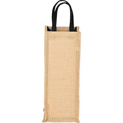 Picture of Jute Single Bottle Wine Tote