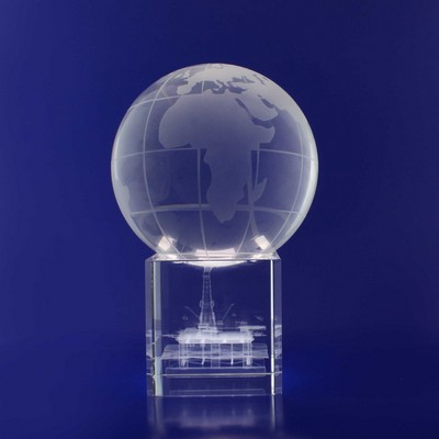 Picture of 3D Crystal Spinning Globe award / desk t