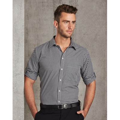Picture of MenS Gingham Check Long Sleeve Shirt Wit