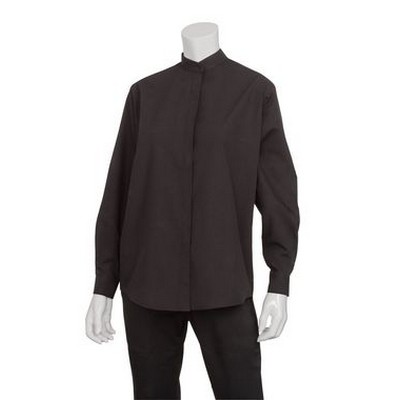 Picture of Womens Black Banded Collar Shirt