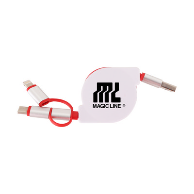 Picture of 3-In-1 Metal Retractable Charging Cable
