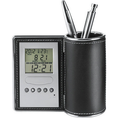 Picture of PU desk organiser and clock