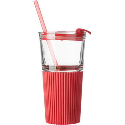 Picture of Glass drinking mug with matching straw (