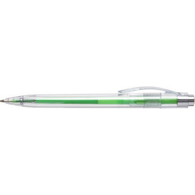 Picture of Plastic transparent ballpen with coloure