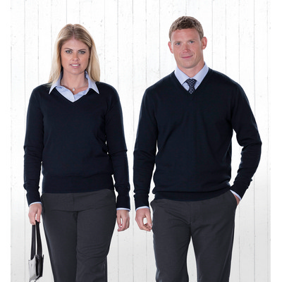 Picture of Merino Detailed Vee Pullover - Mens
