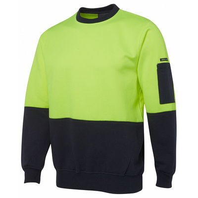 Picture of JB's HV FLEECY CREW    LIME/NAVY  -2XS