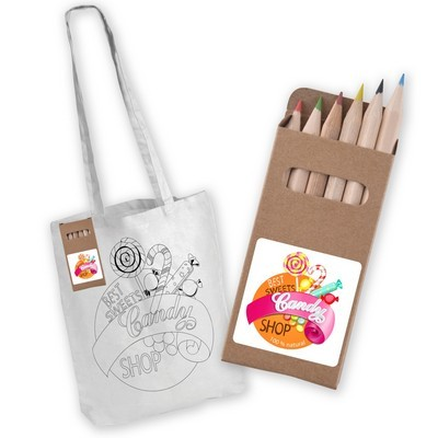 Picture of White Long Handle Cotton Bag with Colour