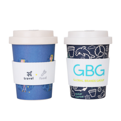 Picture of 350ml Reusable Bamboo Coffee Cup with Sc