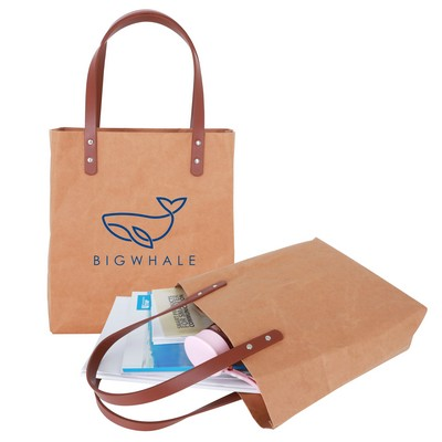 Picture of Washable Kraft Paper Bag with PU Handle(