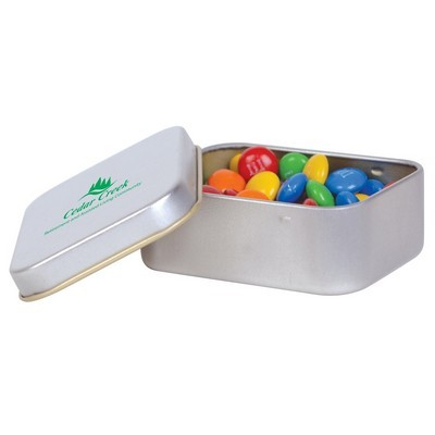 Picture of M&M s in Silver Rectangular Tin