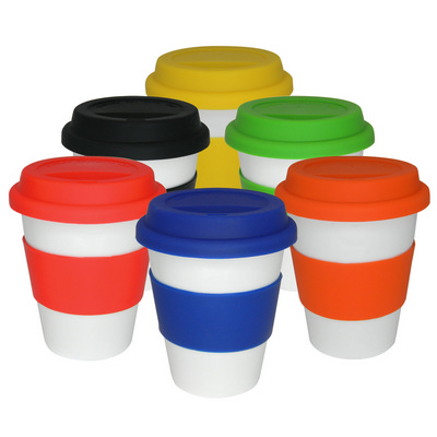 Picture of White ceramic takeaway cup