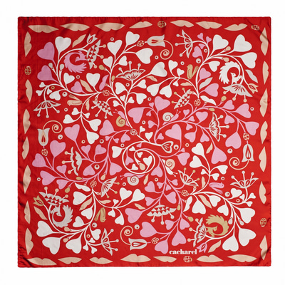 Picture of Cacharel Silk scarf Fairy Garden red