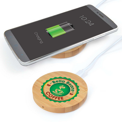 Picture of Arc Round Bamboo Wireless Charger