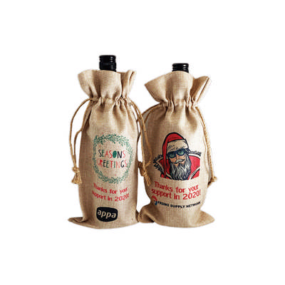 Picture of Faux Burlap Wine Bottle Drawstring Bag